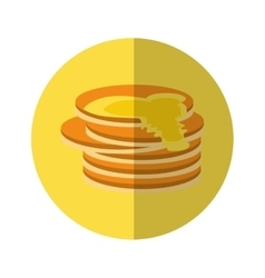 delicious pancakes maple syrup yellow pictogram vector image