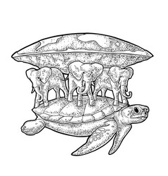 elephants and turtle holding flat earth engraving vector image