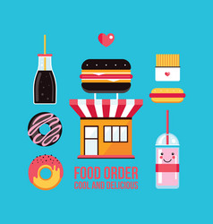 fast food cafe facade and food icons set vector image