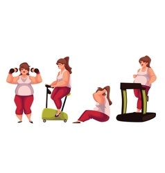 Fat woman doing sport exercises isolated on white vector image