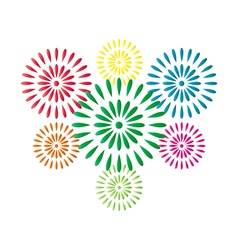 Fireworks colorful isolated on white background vector