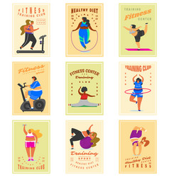 fitness girls plus size for banners posters vector image