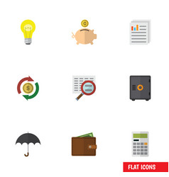 Flat icon finance set of document bubl vector