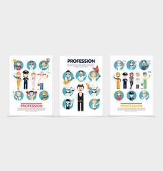 Flat professions brochures vector