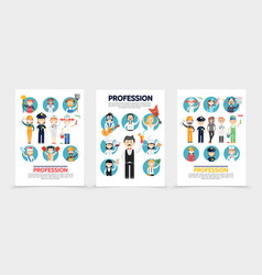 flat professions brochures vector image