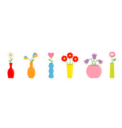 flower in vase set cute colorful icon collection vector image