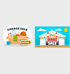 Garage sale banner set flat style vector