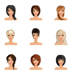Girl Hair Style Set vector image