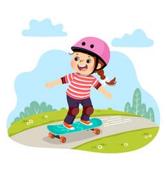 Girl in safety helmets skating skateboard vector