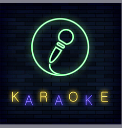Glowing light karaoke on brick background musical vector