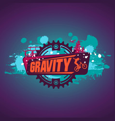 gravity mountain biking downhillfreeride grunge vector image