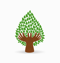 Green human hand tree concept vector