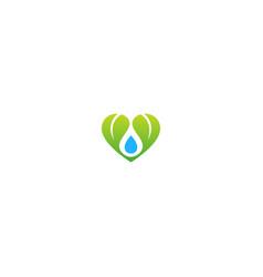green leaf water droplet organic logo vector image
