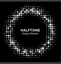 halftone circle frame black abstract random dots vector image
