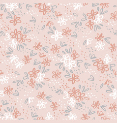 hand drawn naive simple flower seamless pattern vector image