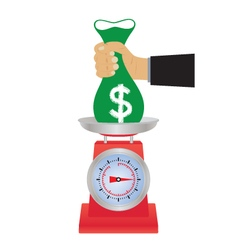 Hand with a bag of money on the scales vector