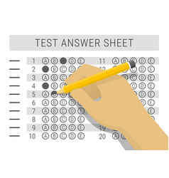 Hand with pencil filling out answers on exam test vector