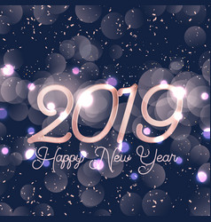 happy new year background with bokeh lights vector image