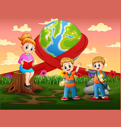 Happy world day with teacher teaching a student vector