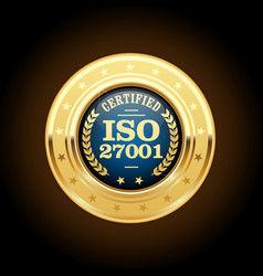 iso 27001 standard medal - information security ma vector image