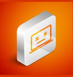 Isometric dead laptop icon isolated on orange vector