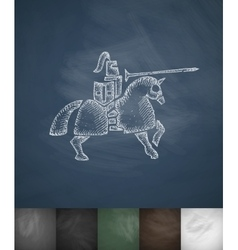 knight on horse icon Hand drawn vector image