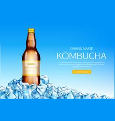 Kombucha bottle on ice cubes heap mockup banner vector