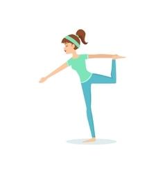 Lord Of Dance Natarajasana Yoga Pose Demonstrated vector