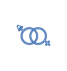 male and female genders line icon concept male vector image