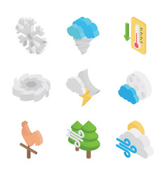 Meteorological conditions icon set vector