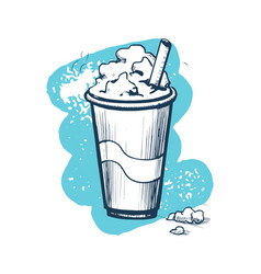 Milk shake hand drawn icon vector