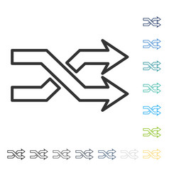 Mix arrows horizontal icon vector