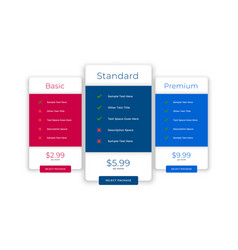 Modern comparison plans and pricing template vector