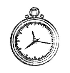 monochrome blurred silhouette with black stopwatch vector image