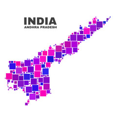 mosaic andhra pradesh state map of square items vector image