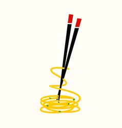Noodle and chopstick logo vector