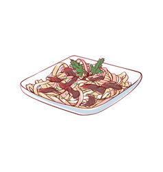 Noodles with meat isolated icon vector