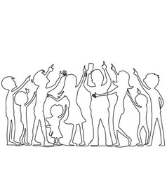 People from a continuous line vector