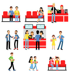 People going to the cinema or movie theatre set vector