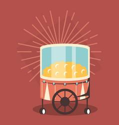 Pop corn cart icon vector