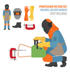 Profession and occupation set metal welding vector