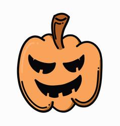 pumpkin doodle color icon drawing sketch hand vector image
