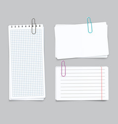 realistic different sheets blank gridded notebook vector image