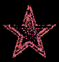 Red star of many small pink hearts vector