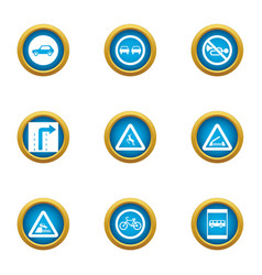 Roadbed icons set flat style vector