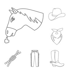 Rodeo competition outline icons in set collection vector