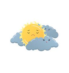 Sad yellow sun between angry grey clouds emoji vector
