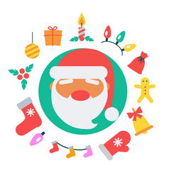 santa claus and icons vector image