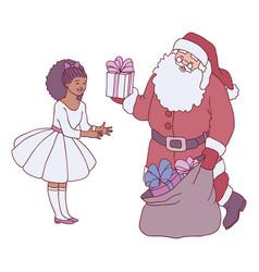 santa claus giving gift box vector image