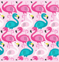 Seamless pattern with beautiful flamingo vector